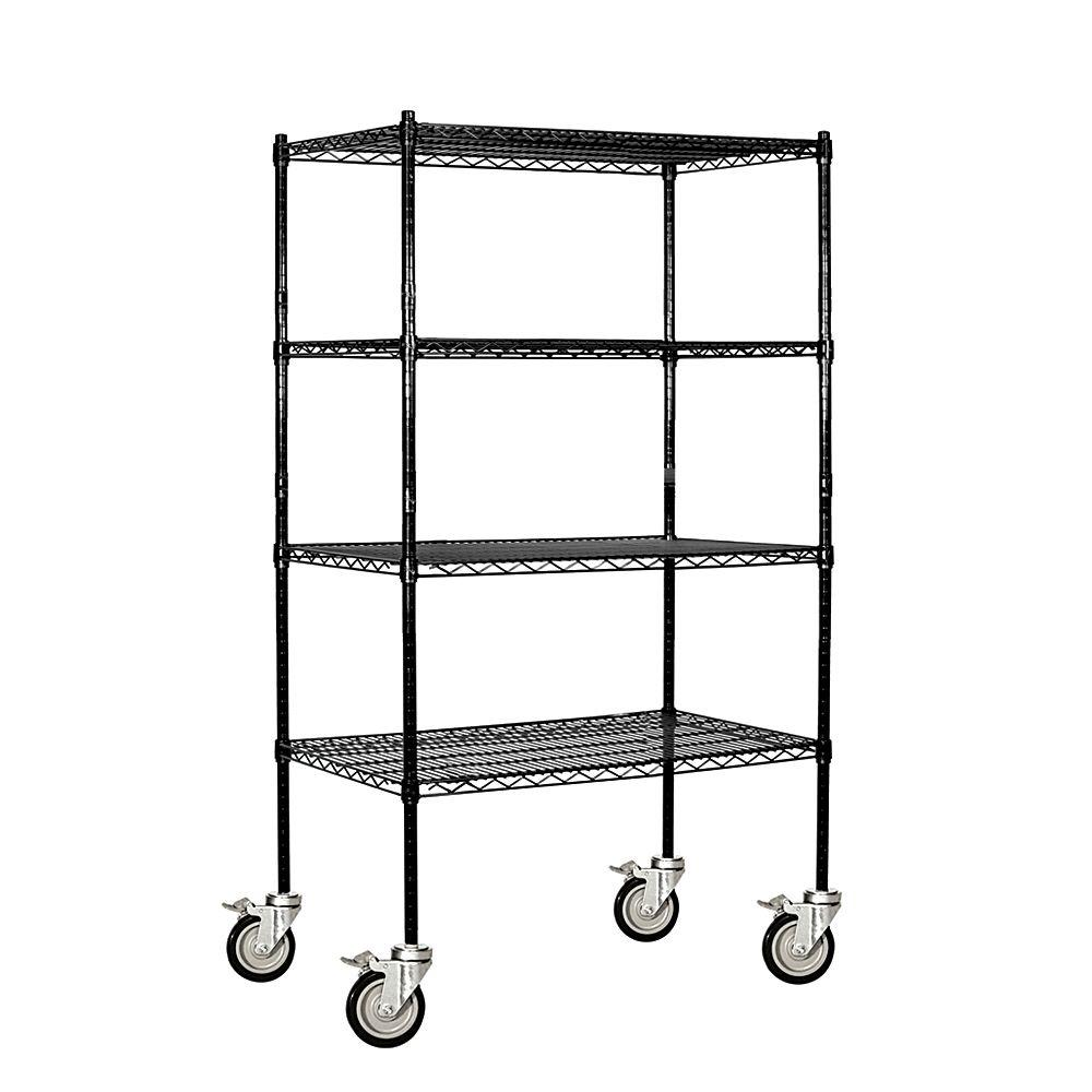 Salsbury Industries 9500M Series 36 in. W x 69 in. H x 18 in. D Industrial Grade Welded Wire Mobile Wire Shelving in Black