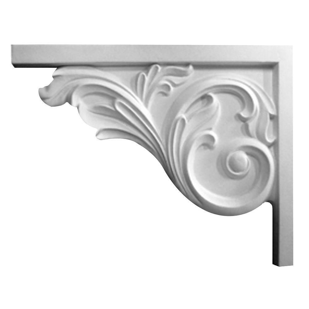 5/8 in. x 8-3/4 in. x 7-5/8 in. Polyurethane Left Bremen Acanthus Stair Bracket Moulding