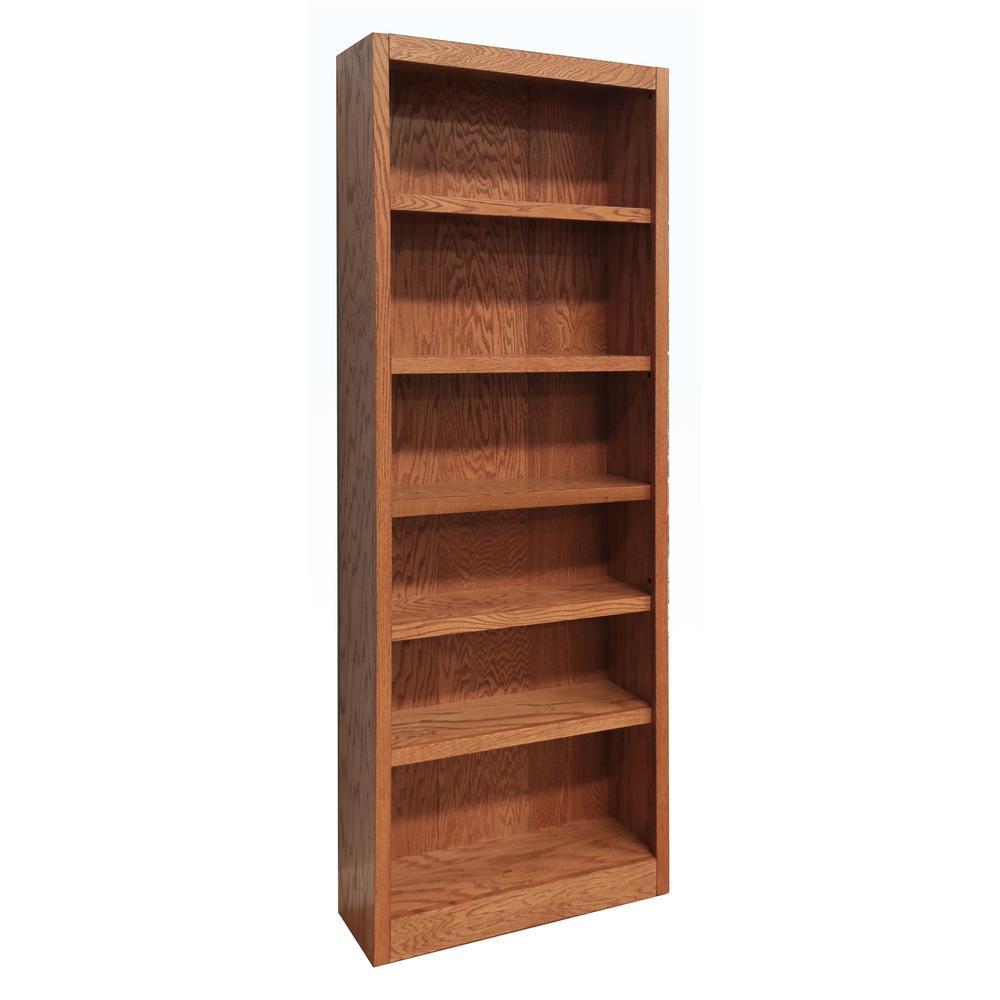ConceptsInWood Concepts In Wood Midas Wood Bookcase, 6 Shelves, 84 in. H, Oak Finish, Dry Oak