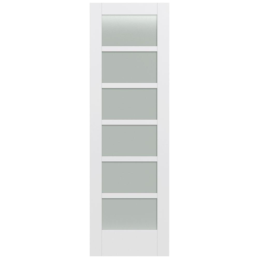 Jeld-Wen 32 in. x 96 in. Moda Primed PMT1066 Solid Core Wood Interior Door Slab w/Translucent Glass