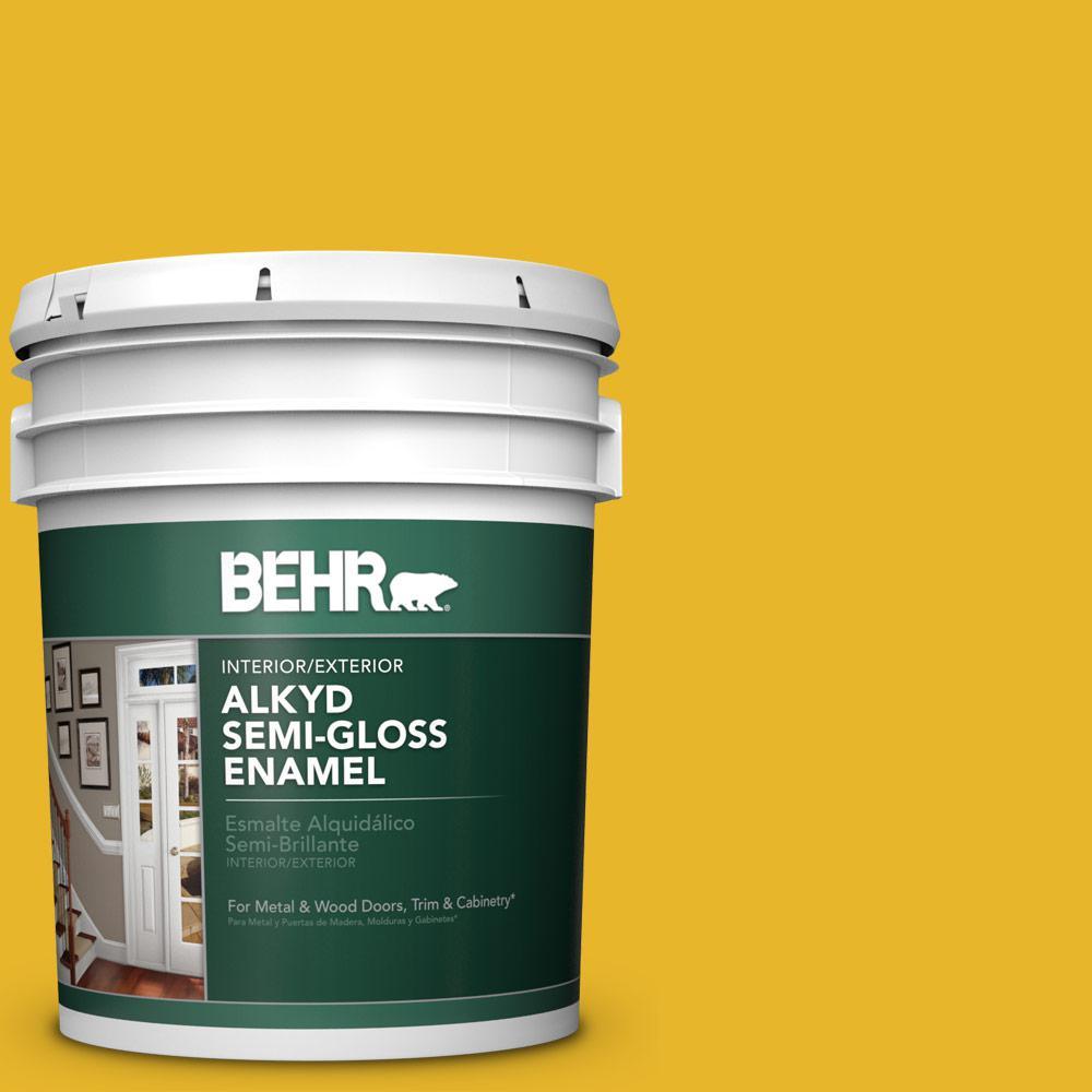 5 gal. #OSHA-6 SAFETY YELLOW Semi-Gloss Enamel Alkyd Interior/Exterior Paint