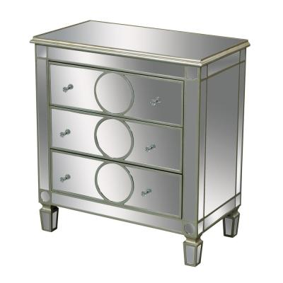 Derin 3-Drawer Antique Silver and Clear Mirror Chest