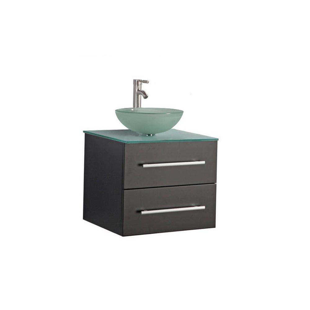 MTD Vanities Caen 36 in. W x 20 in. D x 26 in. H Floating Vanity in Espresso with Tempered Glass Vanity Top with Frosted Glass Basin