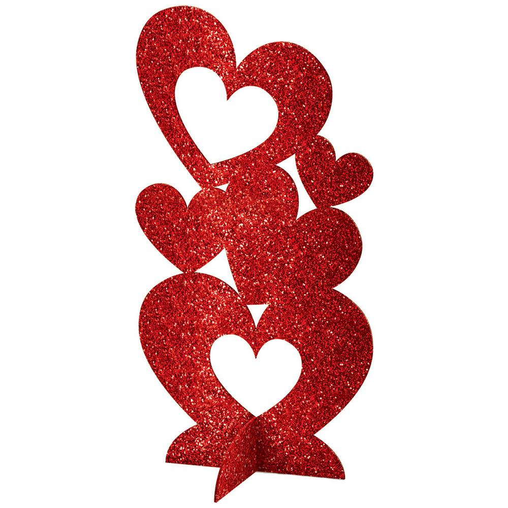11.5 in. Valentine's Day Red MDF Glitter Hearts 3D Centerpiece (4-Pack)