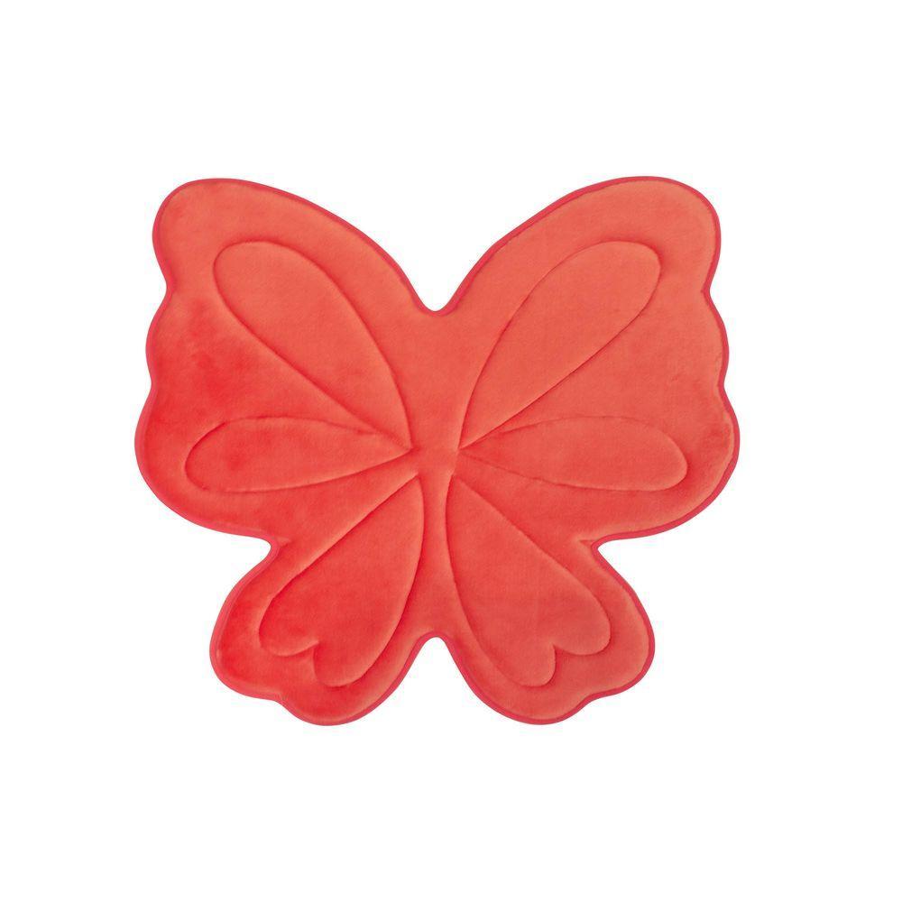 Butterfly Coral 30 in. x 30 in. Memory Foam Bath Mat