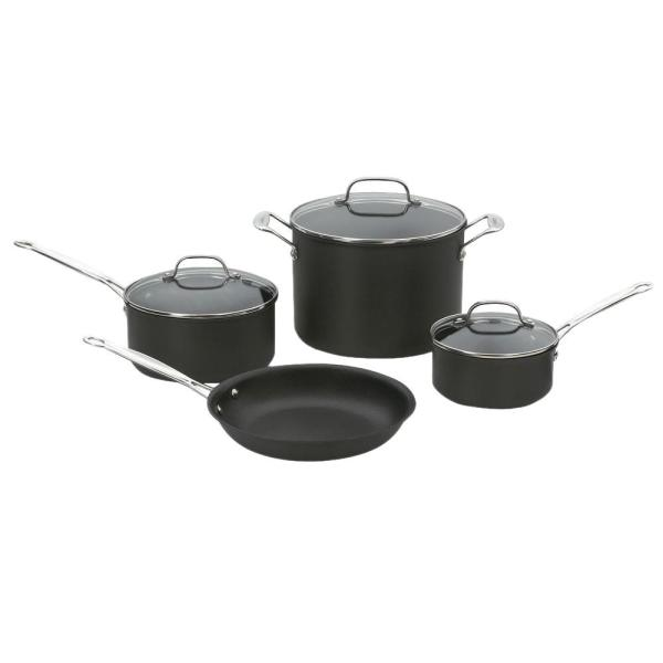 Cuisinart Chef's Classic Hard Anodized 7 Piece Black Cookware Set with