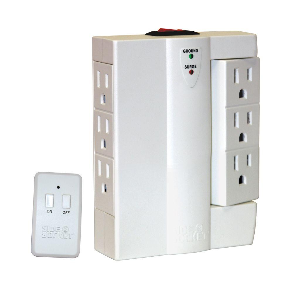 side socket 6 outlet power strip with remote si211106 the home depot rh homedepot com