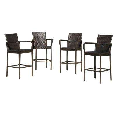 Seamus Multibrown Wicker Outdoor Bar Stool (4-Pack)