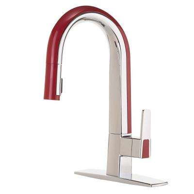 Matisse Single-Handle Pull-Down Sprayer Kitchen Faucet in Chrome and Red