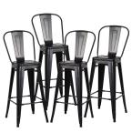 Poly and Bark Trattoria 30 in. High Back Bar Stool in Black (Set of 4)