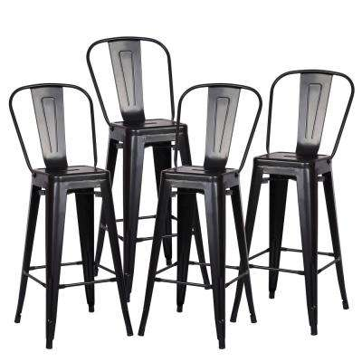Trattoria 30 in. High Back Bar Stool in Black (Set of 4)