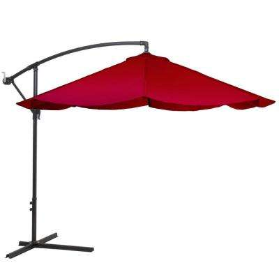 10 ft. Offset Aluminum Hanging Patio Umbrella in Red
