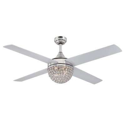 Kelcie 52 in. LED Brushed Nickel Ceiling Fan with Light Kit and Remote Control
