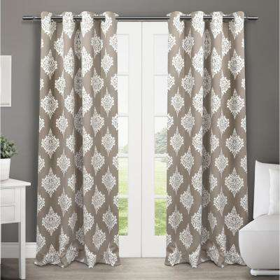 Medallion 52 in. W x 84 in. L Woven Blackout Grommet Top Curtain Panel in Taupe (2 Panels)