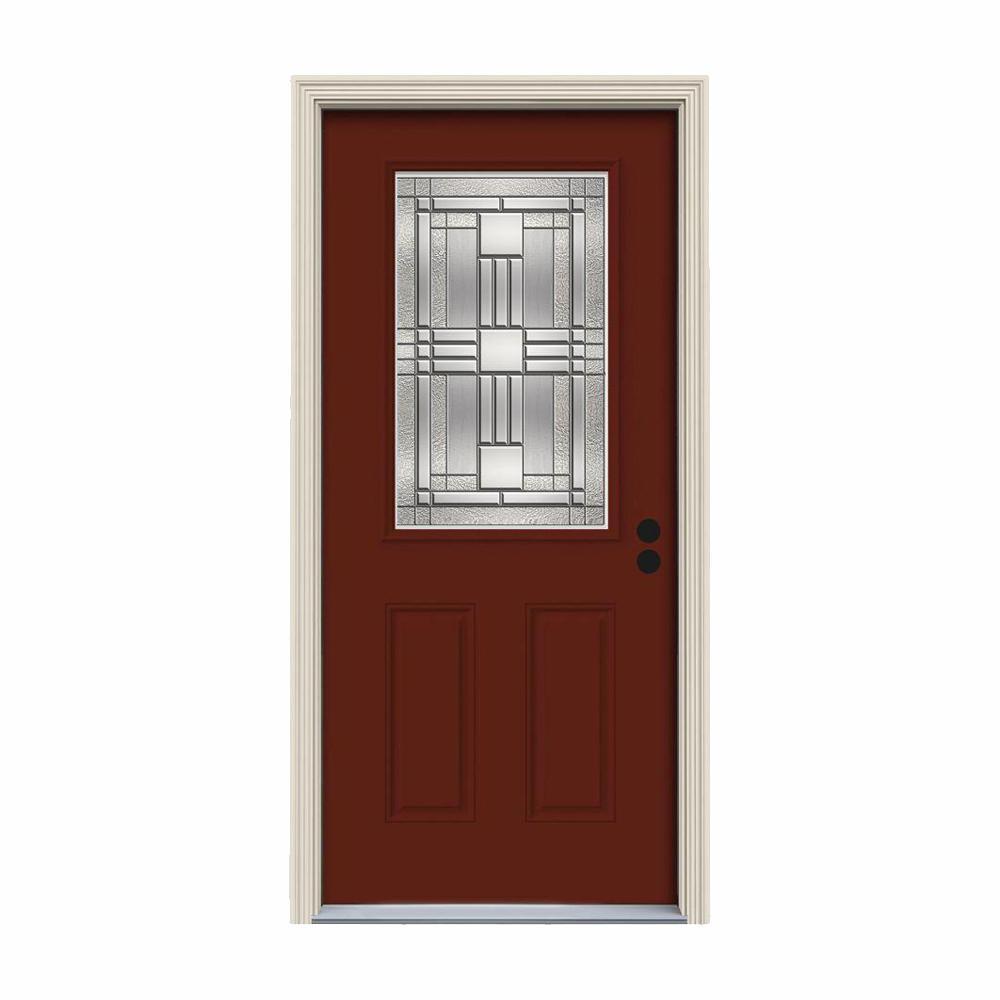 JELD-WEN 36 in. x 80 in. 1/2 Lite Cordova Mesa Red Painted Steel Prehung Left-Hand Inswing Front Door w/Brickmould