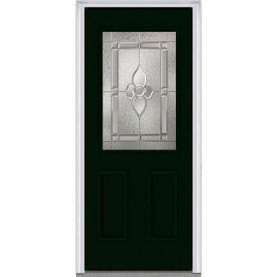 Master Nouveau Decorative Glass 1/2 Lite 2-Panel Painted Majestic Steel Prehung Front  sc 1 st  The Home Depot & 36 x 80 - Green - Steel - Steel Doors - Front Doors - The Home Depot