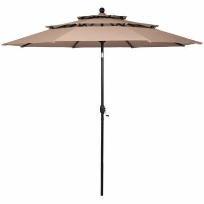 10 ft. 3-Tier Aluminum Sunshade Shelter Double Vented Market Patio Umbrella in Beige