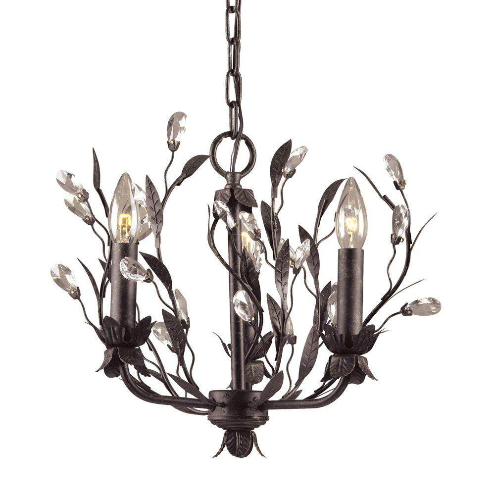 Titan Lighting Circeo 3-Light Deep Rust Ceiling Mount Chandelier