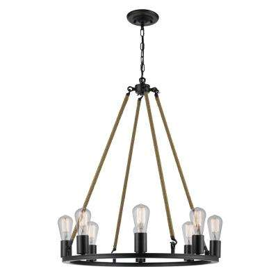 Myrcella 8-Light Dark Bronze Twine Wrapped Round Vintage Chandelier