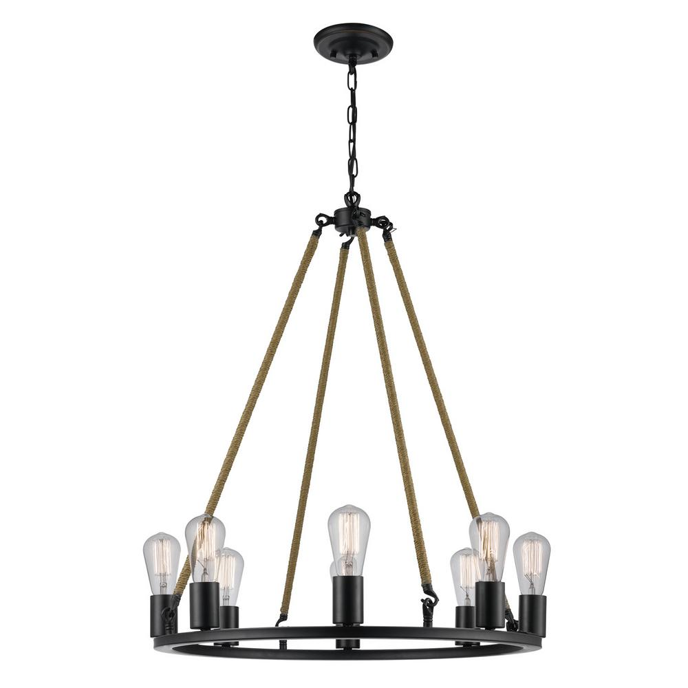 Globe Electric Myrcella 8-Light Oil-Rubbed Bronze Twine Wrapped Round Vintage Chandelier