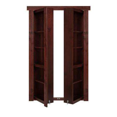 72 in. x 80 in. Flush Mount Assembled Alder Cherry Stained Universal Solid Core Interior French Bookcase Door