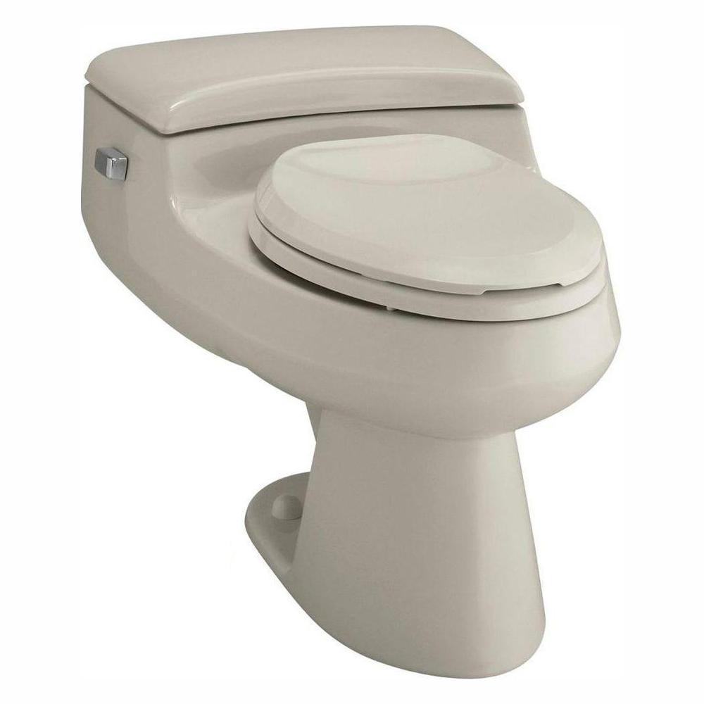 Kohler San Raphael Comfort Height 1 Piece 1 Gpf Single Flush Elongated Toilet In Sandbar Seat Included K 3597 G9 The Home Depot