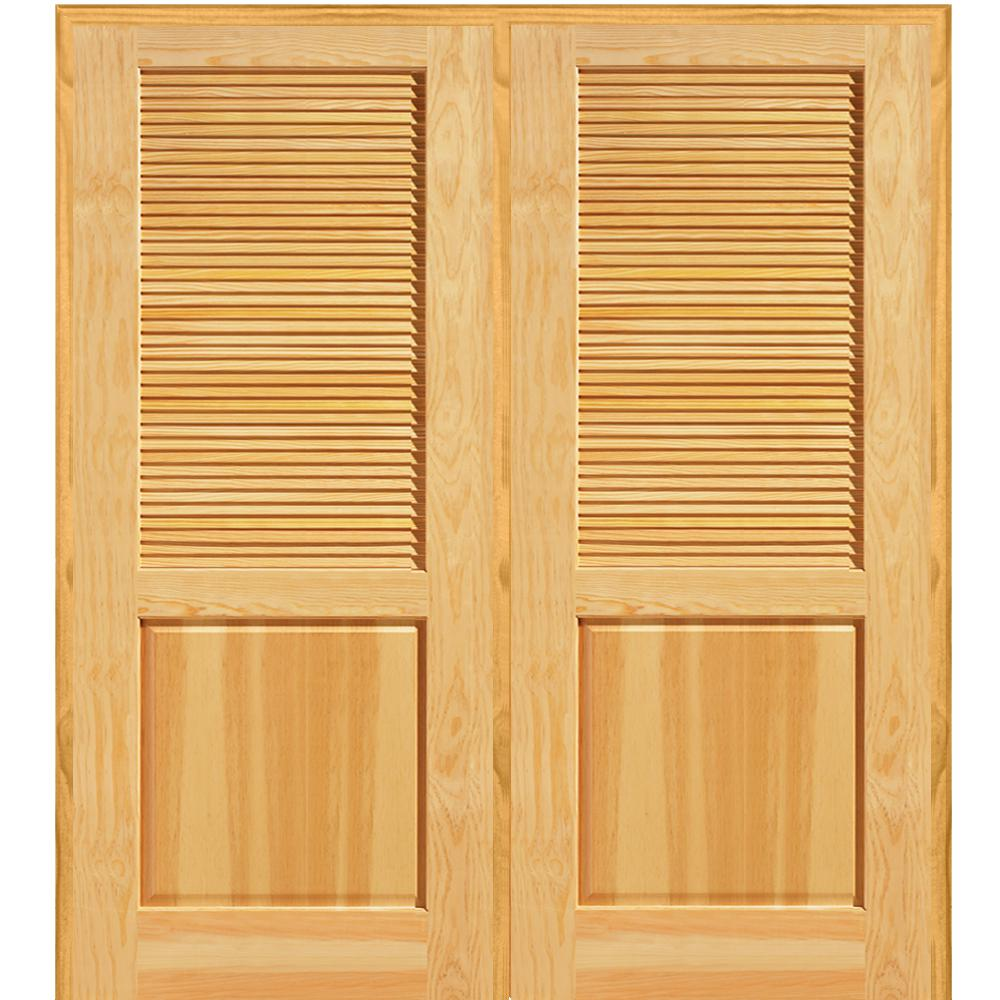 Half Louver 1 Panel Unfinished Pine Wood Left Hand Active Double Prehung Interior Door