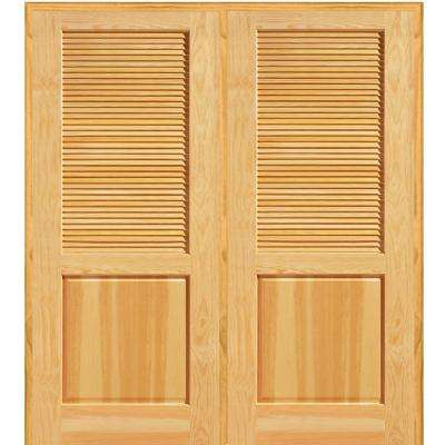 72 in. x 80 in. Half Louver 1-Panel Unfinished Pine Wood Right Hand Active Double Prehung Interior Door