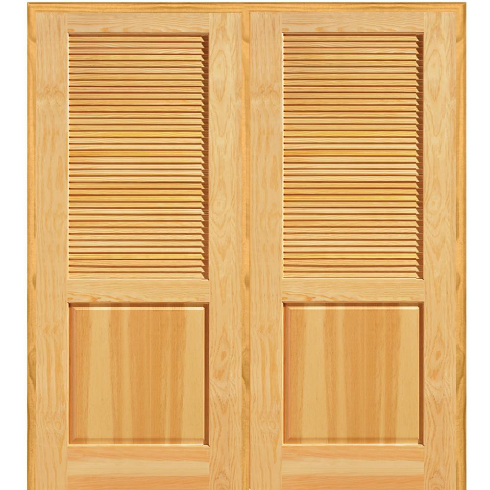 74 in. x 81.75 in. Unfinished Pine Half Louver 1-Panel Double Interior Door