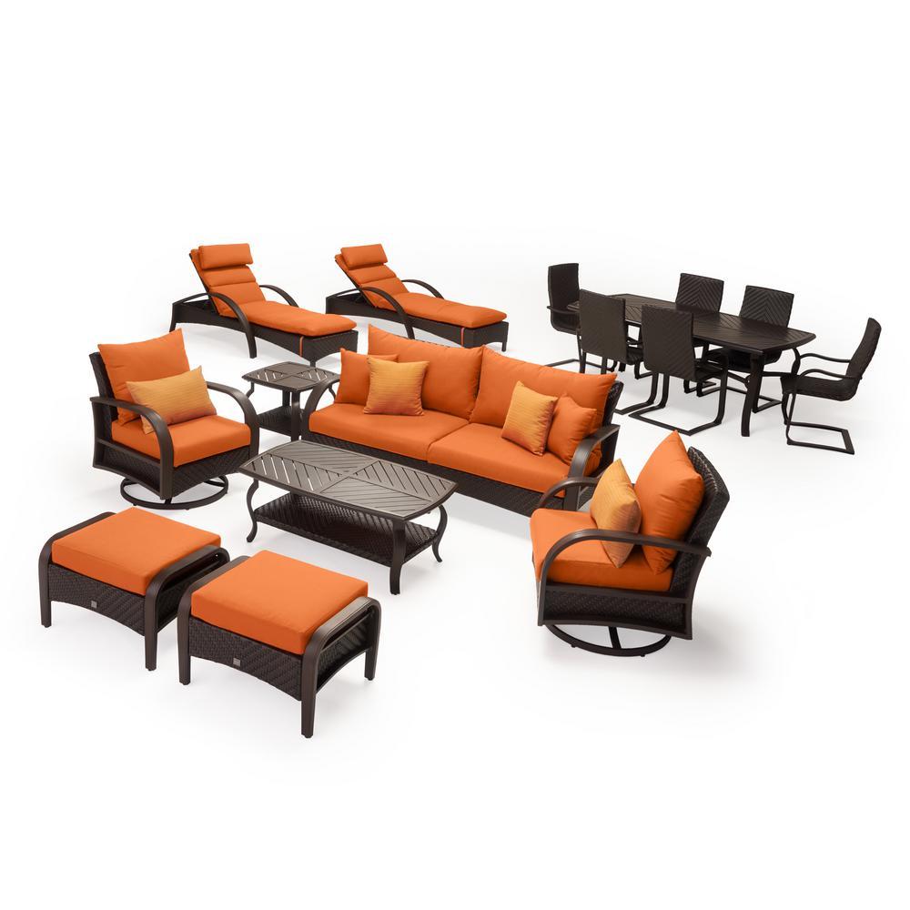 Barcelo Estate 16-Piece Wicker Patio Conversation Set with Sunbrella Tikka Orange Cushions
