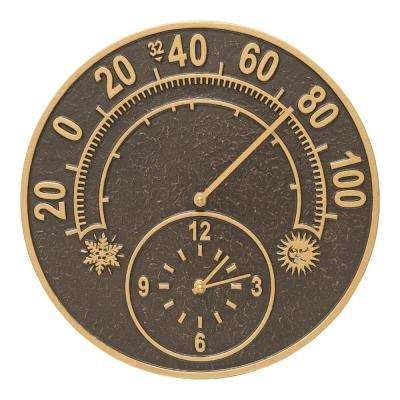 Solstice French Bronze Thermometer Clock
