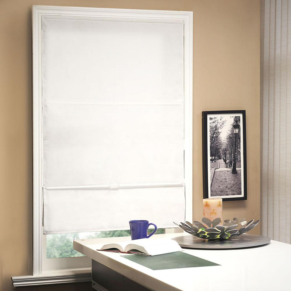 Chicology 35 in. W x  64 in. L Allure Powder  Light Filtering Horizontal Fabric Roman Shade