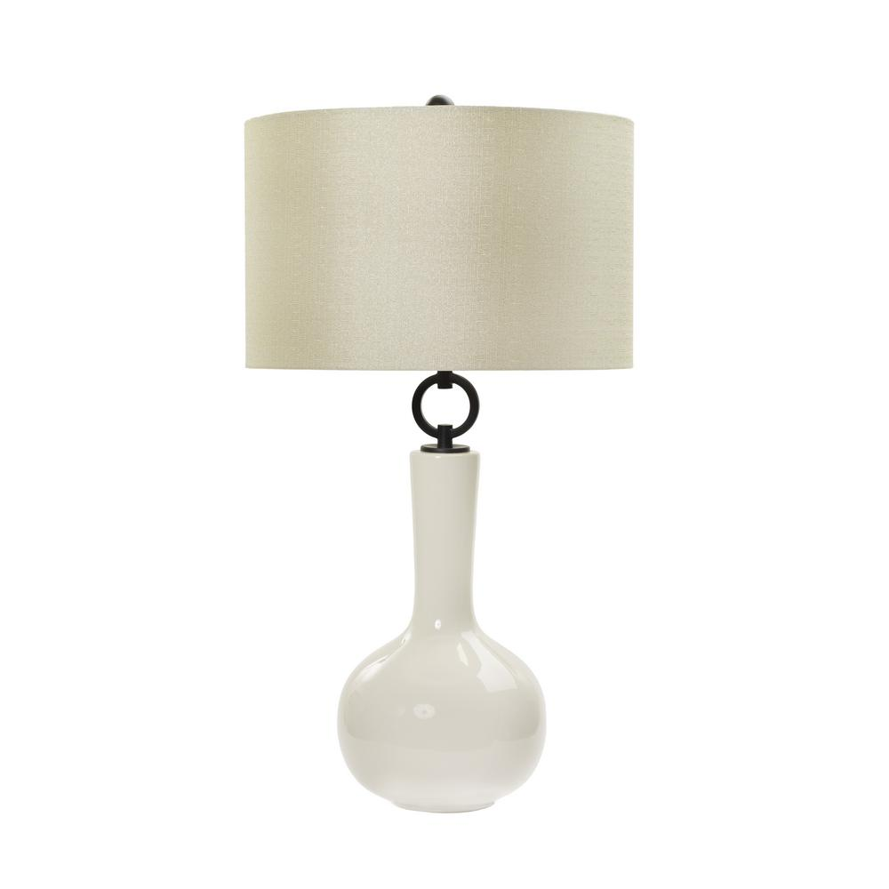 fangio lighting 30 in clean white ceramic table lamp w mr8911wht the home depot. Black Bedroom Furniture Sets. Home Design Ideas