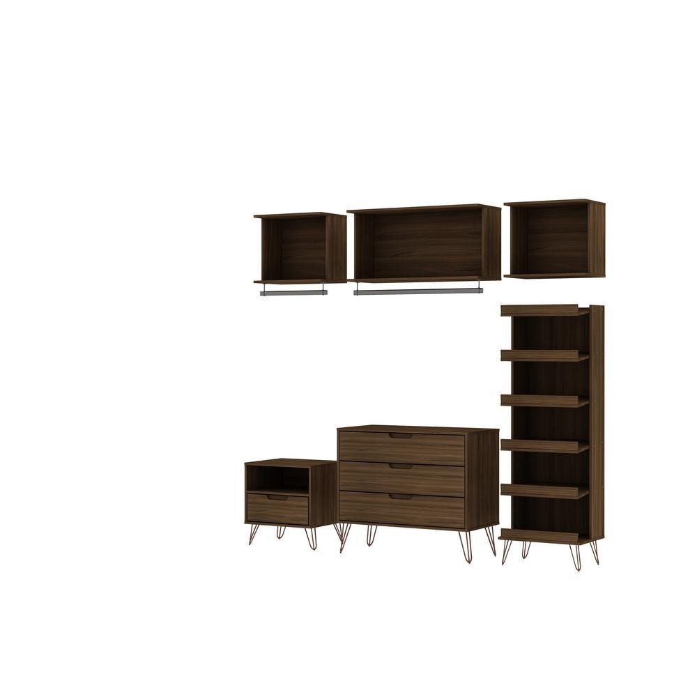 Rockefeller 6-Piece Brown Full Open Closet Wardrobe Set