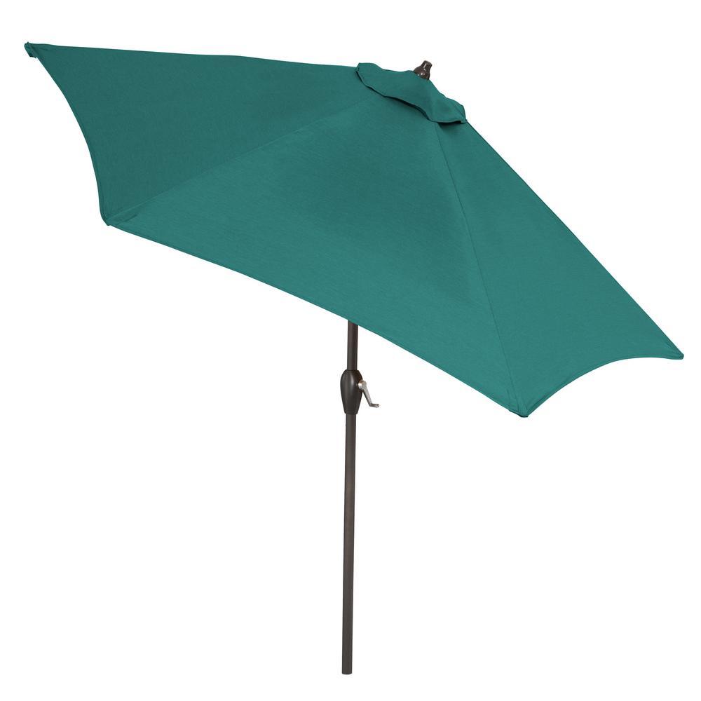 Aluminum Market Tilt Patio Umbrella In Sunbrella Spectrum Peacock