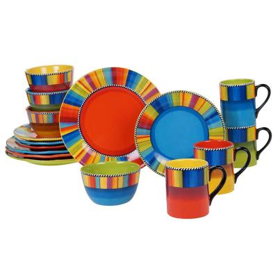 Sierra 16-Piece Multi-Colored Earthenware Dinnerware Set