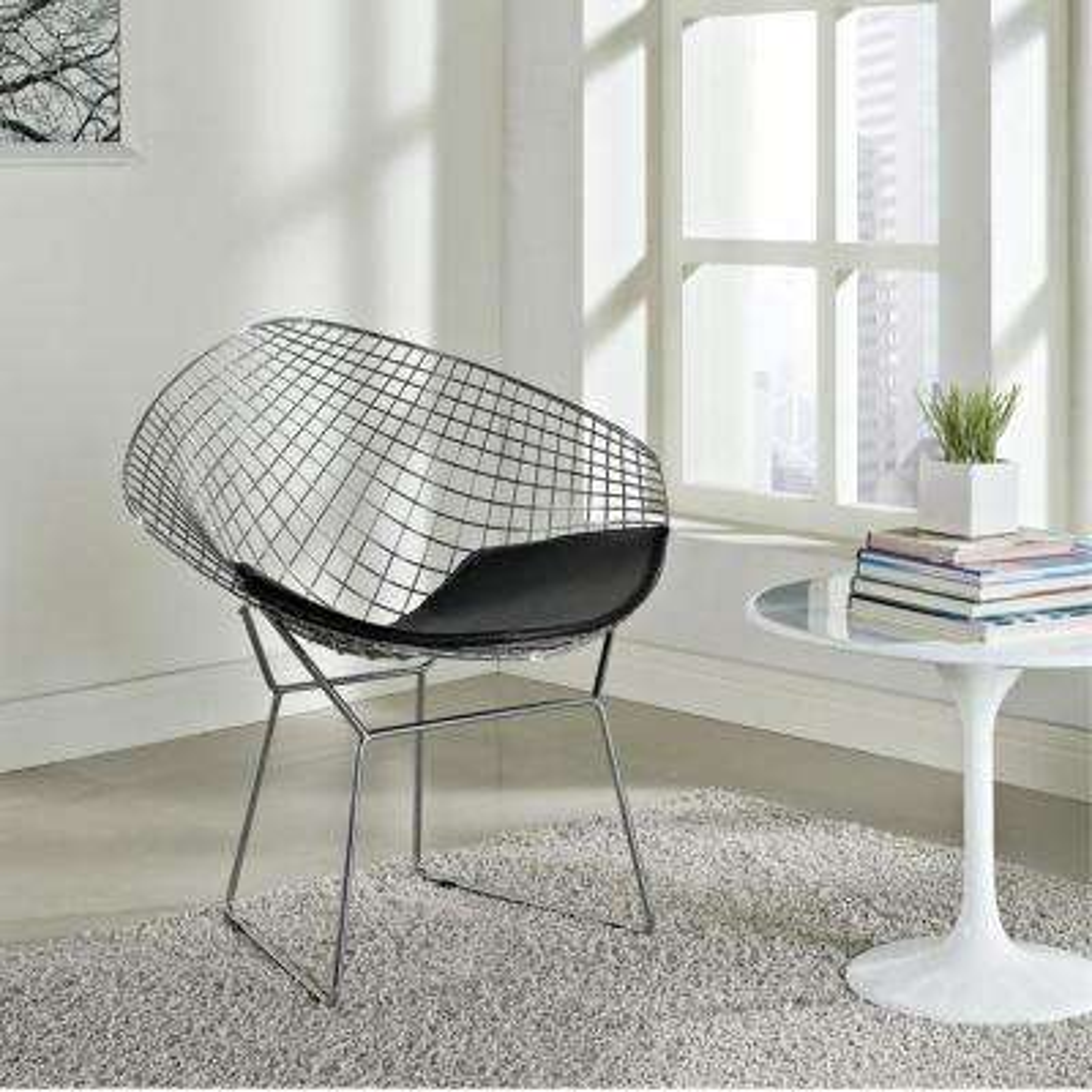 White Wire Diamond Dining Chair