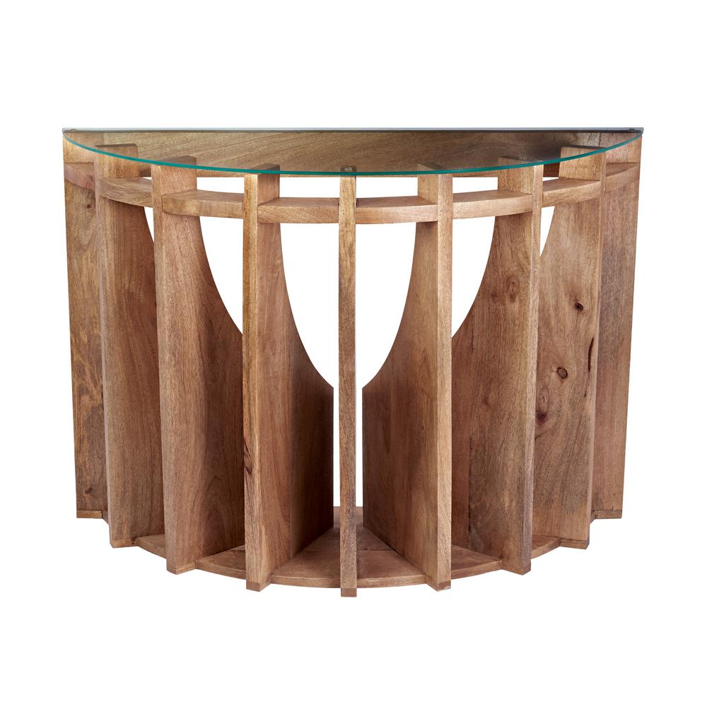 Titan Lighting Wooden Sundial Natural Woodtone Console Table