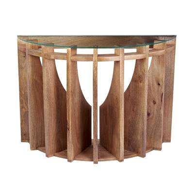 Charmant Wooden Sundial Natural Woodtone Console Table