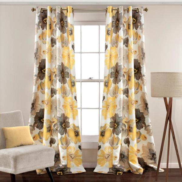 Leah 108 in. x 52 in. 100% Polyester Window Panels in Yellow