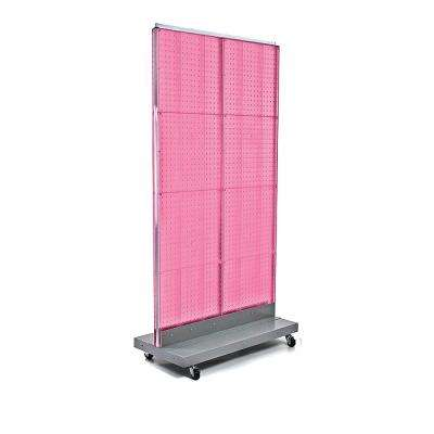 60 in. H x 32 in. W 2-Sided Double Pegboard Floor Display On Wheeled Base in Pink