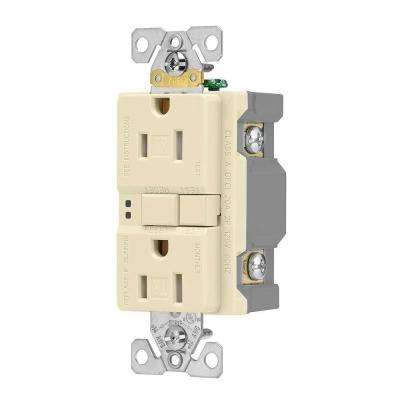 GFCI Self-Test 15A -125V Tamper Resistant Duplex Receptacle with Standard Size Wallplate, Almond