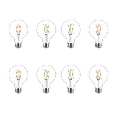 40-Watt Equivalent G25 Dimmable LED Light Bulb Clear Glass with Warm Glow Effect (2700K) (8-Pack)