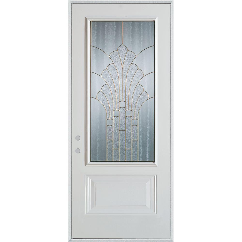 36 in. x 80 in. Art Deco 3/4 Lite 1-Panel Painted White Steel Prehung Front Door