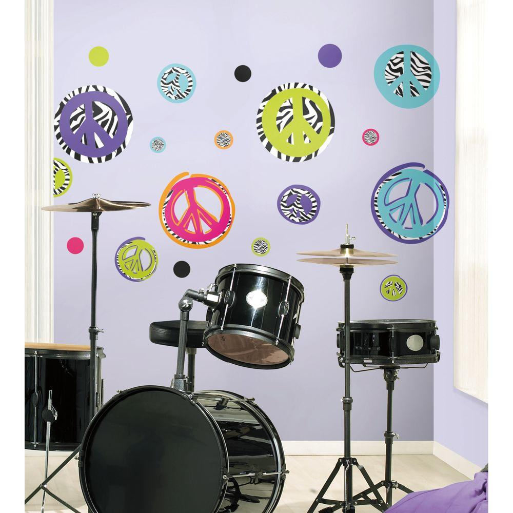 RoomMates Zebra Peace Signs Peel and Stick Wall Decal-RMK1860SCS ...