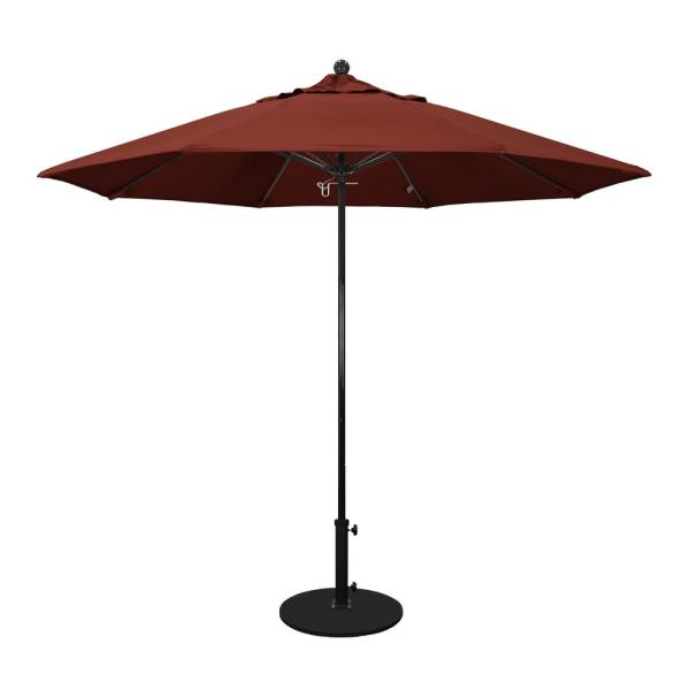 9 ft. Fiberglass Pole Market Fiberglass Ribs Push Lift Patio Umbrella in Henna Sunbrella
