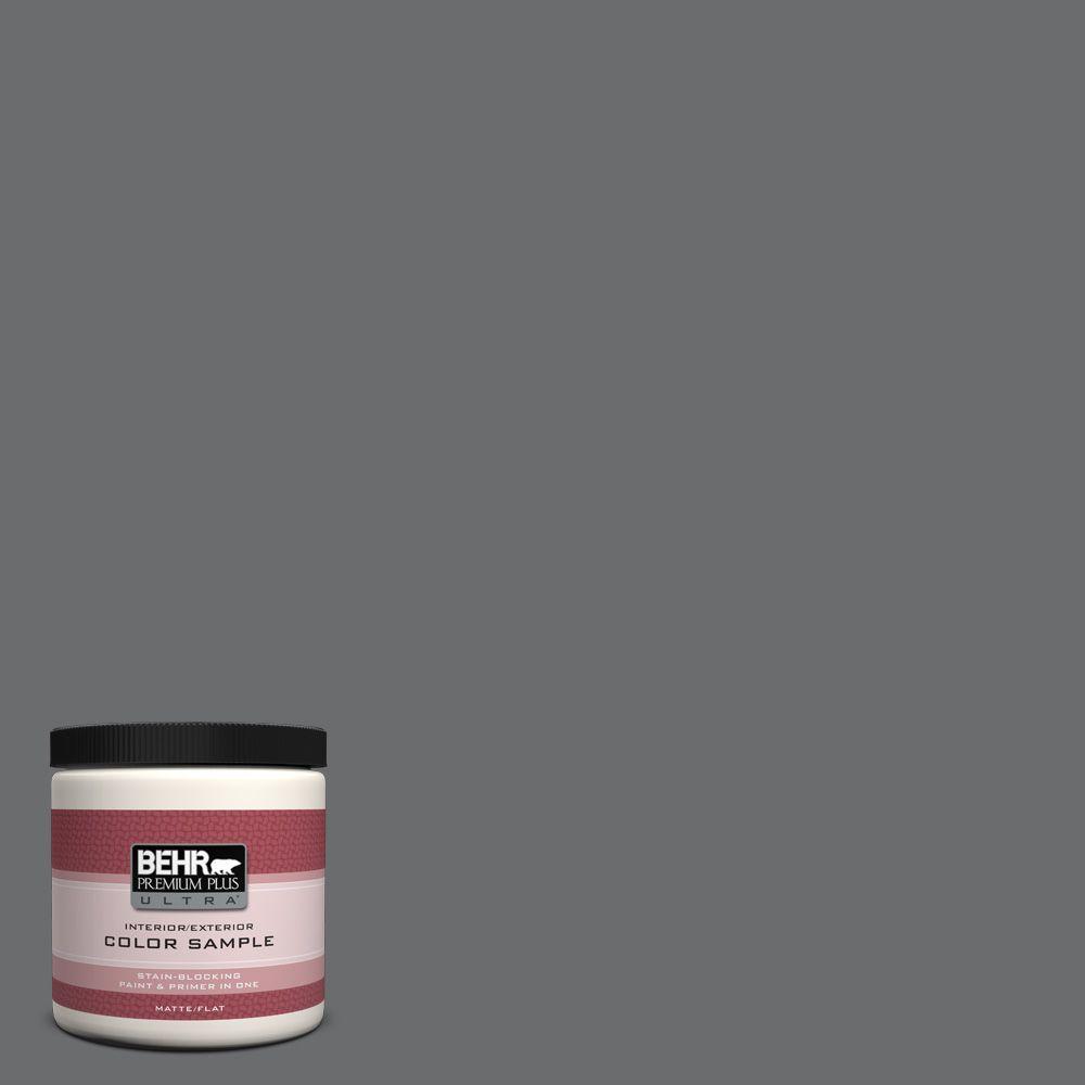 BEHR Premium Plus Ultra 8 oz. #770F-5 Dark Ash Flat Interior/Exterior Paint and Primer in One Sample