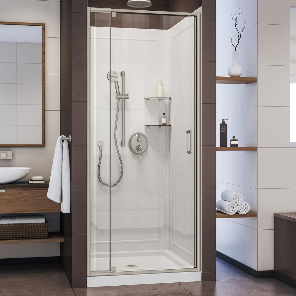 DreamLine Flex 32 in. x 32 in. x 76.75 in. Pivot Shower Kit Door in Brushed Nickel with Center Drain White Base and Back Walls Kit