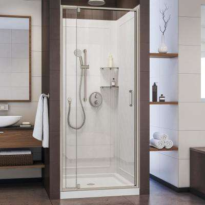 Flex 32 in. x 32 in. x 76.75 in. Pivot Shower Kit Door in Brushed Nickel with Center Drain White Base and Back Walls Kit