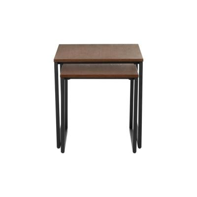 Donnelly Black Metal Nesting Tables with Haze Wood Finish Top (Set of 2) (19.69 in. W x 20.3 in. H)